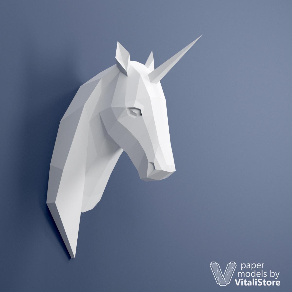 Unicorn Papercraft 3d Paper Sculpture Wall Decor
