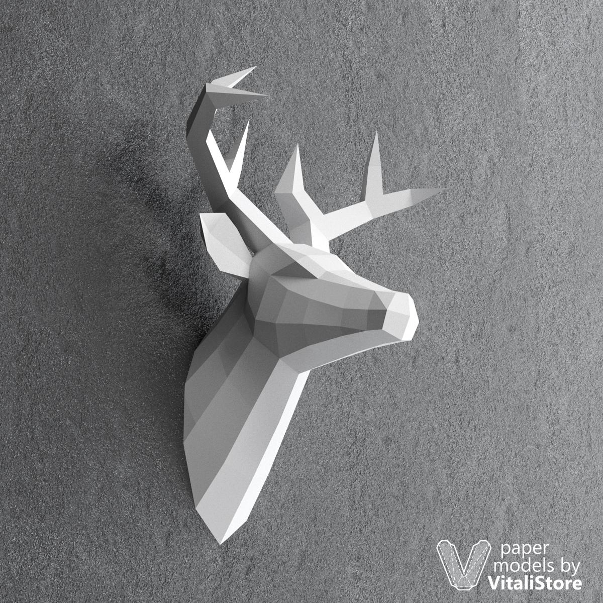 Deer papercraft diy paper sculpture wall decor vitalistore