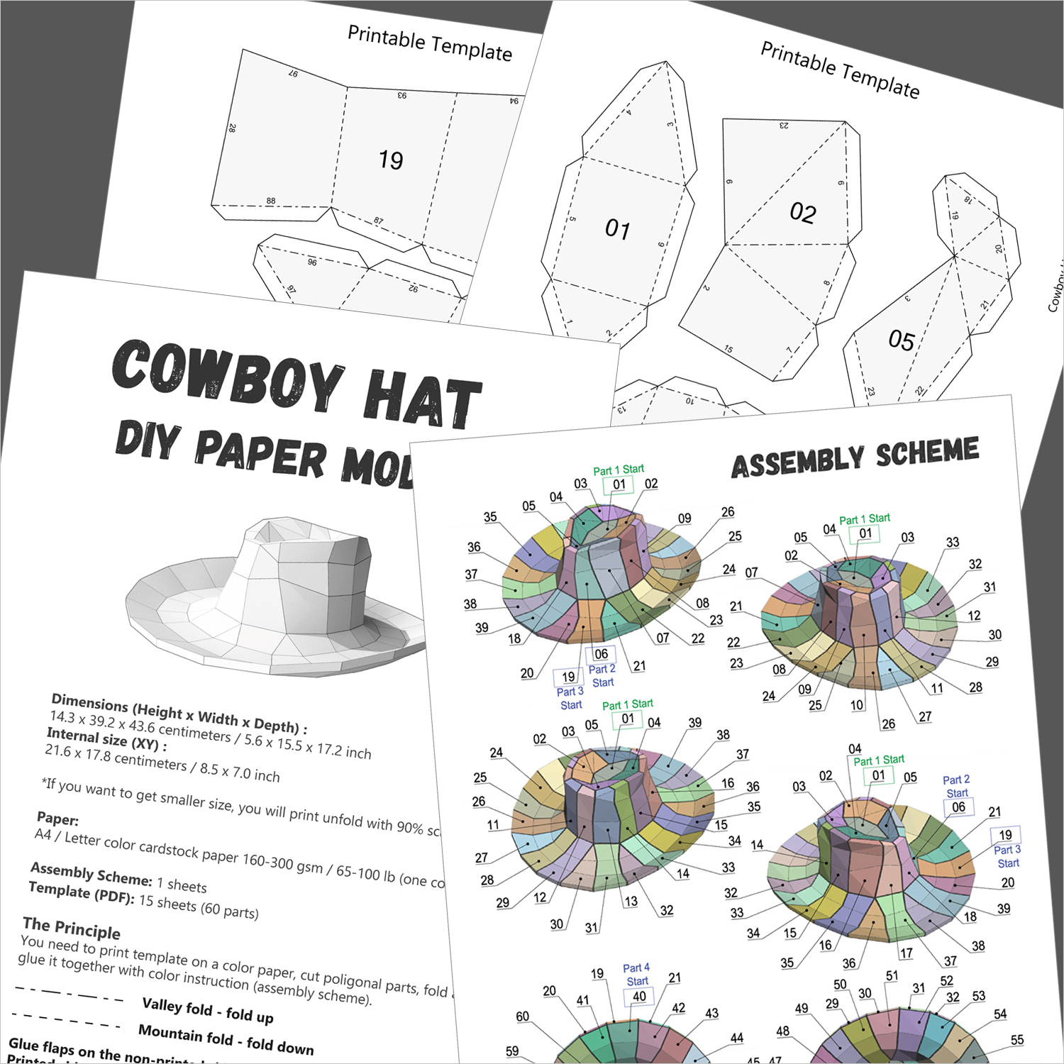 Cowboy Hat Papercraft for Wearing or Wall Decor, DIY Gift - VitaliStore