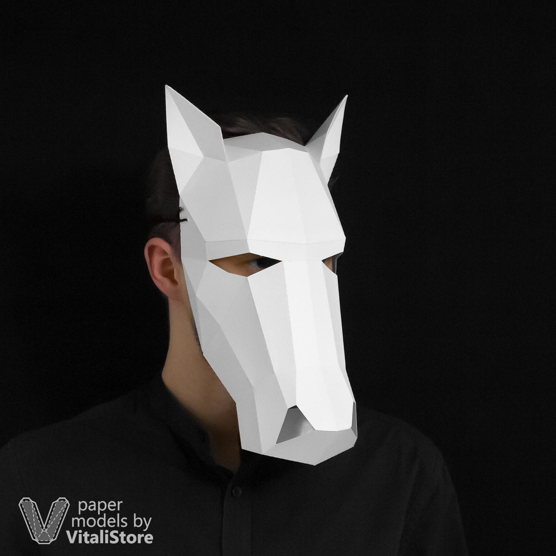 Unicorn Horse Mask Papercraft, DIY Papercraft Mask